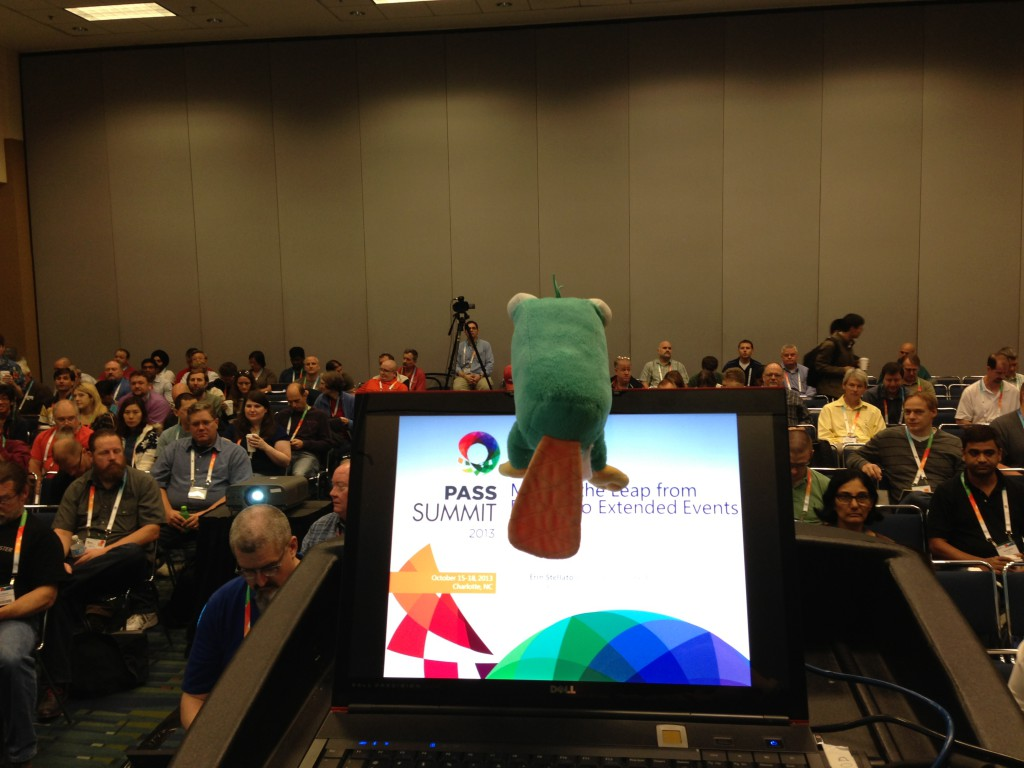 Perry checking out the crowd before my XE session