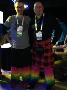 Brent and Grant with their rainbow leggings to support Doctors Without Borders