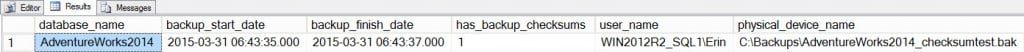Backup information from msdb