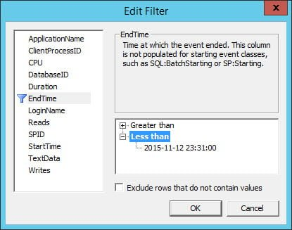 EndTime filter in Trace
