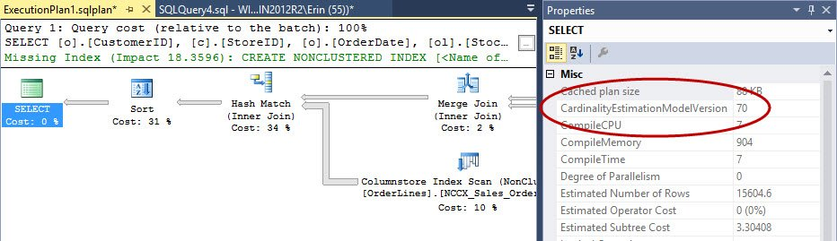 Execution plan using the old CE