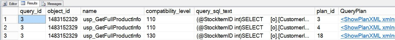 Query Store output - now three different plans