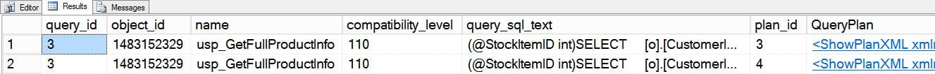 Query Store output - two different plans
