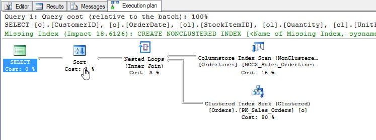 Stored procedure's execution plan, after compatibility mode changed to 130