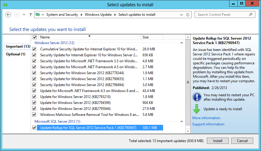 Microsoft Update offering SQL Server 2012 SP1 Cumulative Update 2