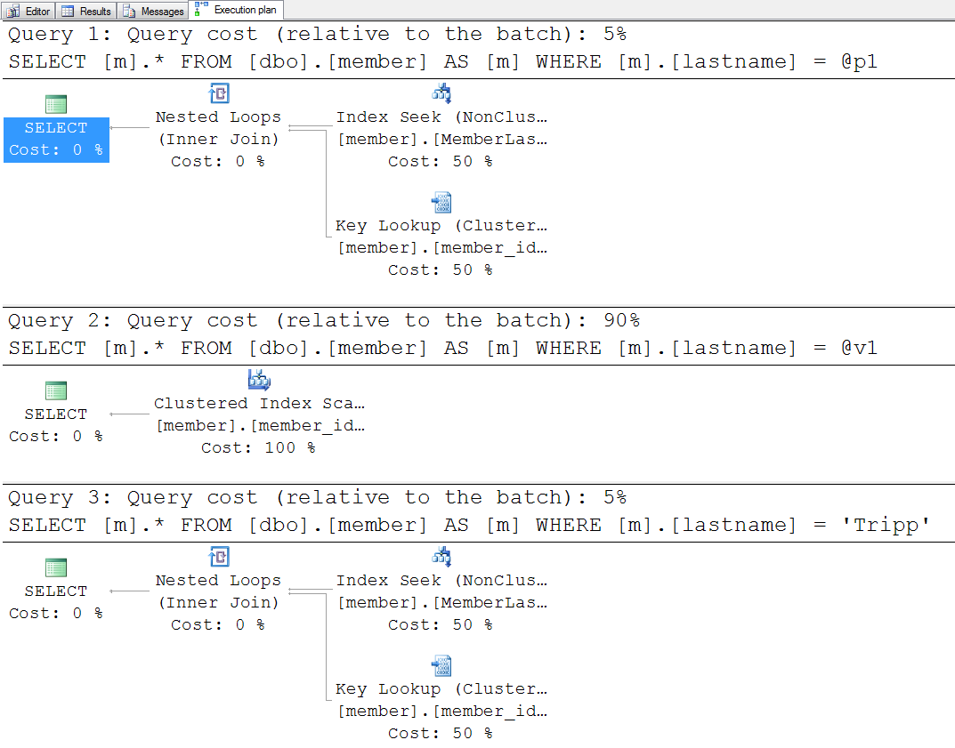 Stored Procedure Execution with Parameters, Variables, and