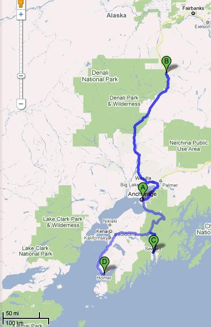 map1 Summer travels part 1: Alaska (Denali, Seward, Homer)