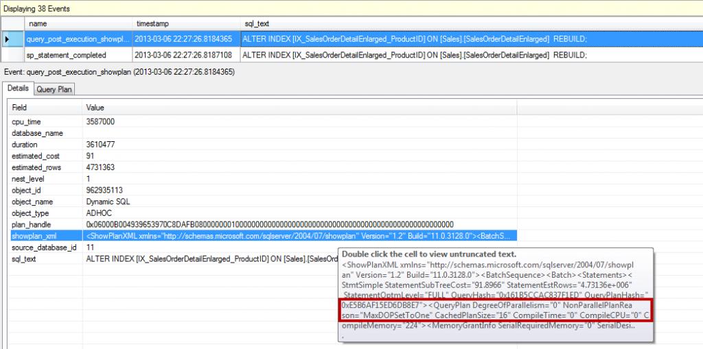 ALTER INDEX ... REBUILD (default option) - MAXDOP=1 for instance