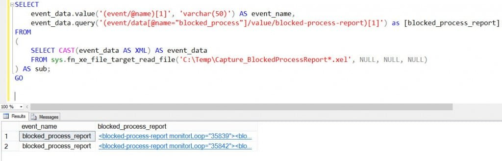 Retrieving the blocked process report