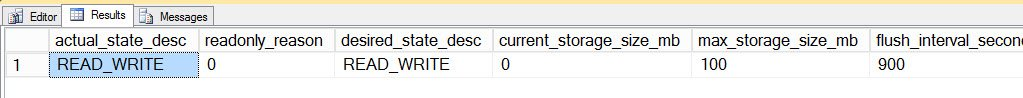 Output from sys.database_query_store_options for msdb