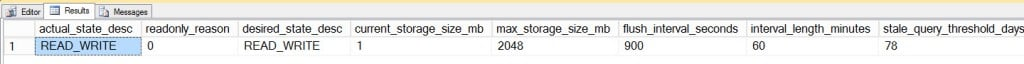 Output from sys.database_query_store_options for QSTest user database