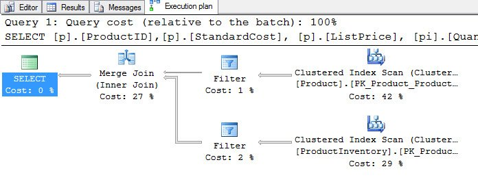 Query plan with FILTER operator