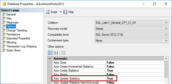 Auto Update Statistics option via SSMS