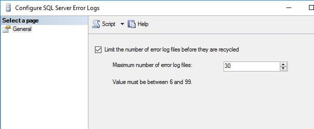 Configure SQL Server to keep 30 ERRORLOG files