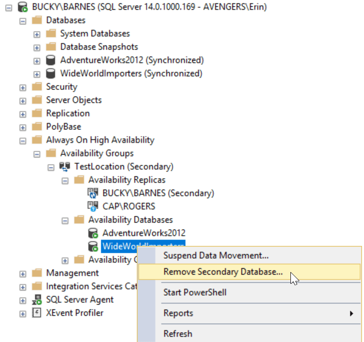 Removing WideWorldImporters from the AG via SSMS