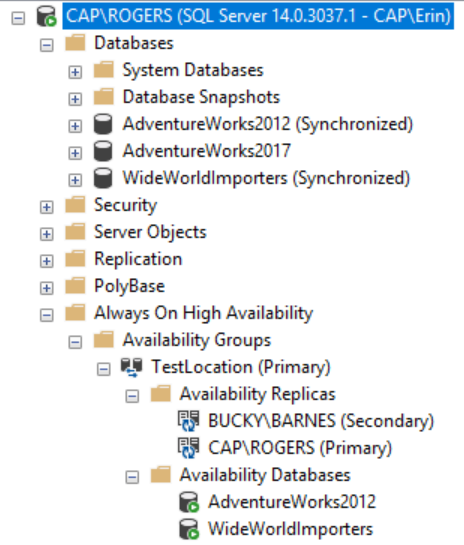 Availability Group (named TestLocation) Configuration