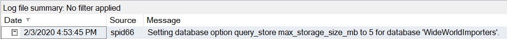 ERRORLOG entry showing Query Store setting change