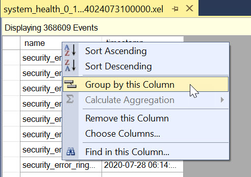 Extended Events file - Group by this Columns