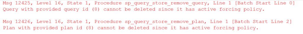 Query or plan with provided id cannot be deleted since it has an active forcing policy.