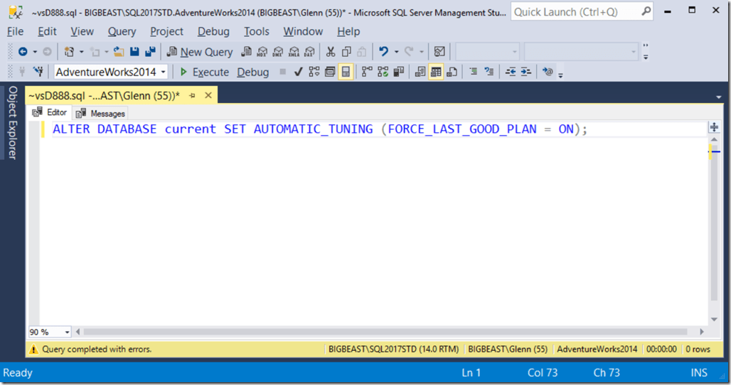 Automatic Plan Correction is Enterprise Edition Only Feature in SQL